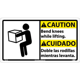 CBA12R Bilingual Plastic Sign - Caution Bend Knees While Lifting