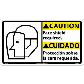 CBA13R Bilingual Plastic Sign - Caution Face Shield Required