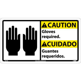 CBA14R Bilingual Plastic Sign - Caution Gloves Required
