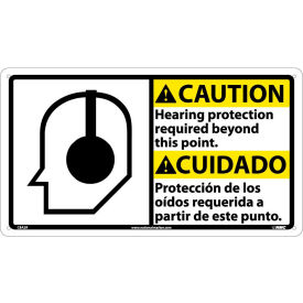 CBA2R Bilingual Plastic Sign - Caution Hearing Protection Required Beyond This Point
