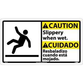 CBA7R Bilingual Plastic Sign - Caution Slippery When Wet