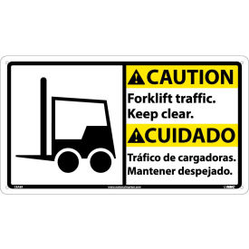 CBA8R Bilingual Plastic Sign - Caution Forklift Traffic Keep Clear