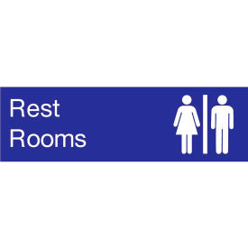 EN19BL Engraved Sign - Rest Rooms - Blue