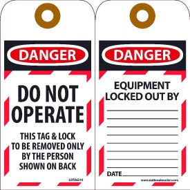 LOTAG10 Lockout Tags - Do Not Operate