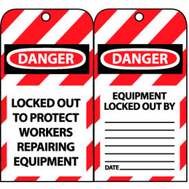 LOTAG22 Lockout Tags - Locked Out To Protect Workers Repairing Equipment