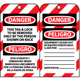 SPLOTAG1 Bilingual Lockout Tags - This Tag & Lock To Be Removed Only By The Person Shown