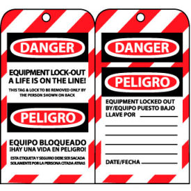 SPLOTAG12 Bilingual Lockout Tags - Equipment Lock-Out A Life Is On The Line
