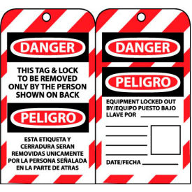bilingual lockout tags - this tag & lock to be removed only by the person shown Bilingual Lockout Tags - This Tag & Lock To Be Removed Only By The Person Shown