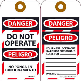 SPLOTAG14 Bilingual Lockout Tags - Do Not Operate Equipment Tag-Out