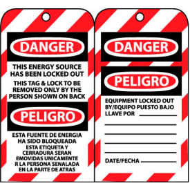 bilingual lockout tags - this energy source has been locked out Bilingual Lockout Tags - This Energy Source Has Been Locked Out