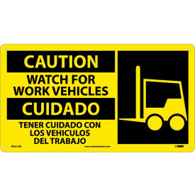SPSA122R Bilingual Plastic Sign - Caution Watch For Work Vehicles