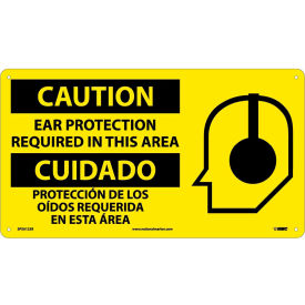 SPSA123R Bilingual Plastic Sign - Caution Ear Protection Required In This Area