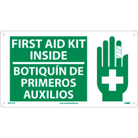 SPSA172R Bilingual Plastic Sign - First Aid Kit Inside
