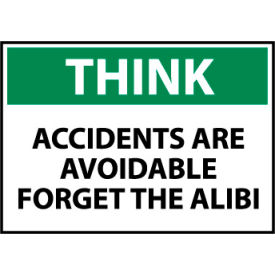 think osha 10x14 plastic - accidents are avoidable forget the alibi Think Osha 10x14 Plastic - Accidents Are Avoidable Forget The Alibi