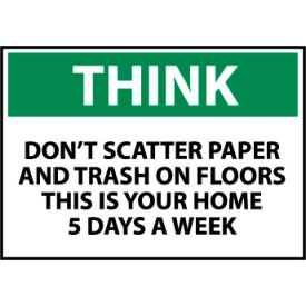 think osha 10x14 plastic - dont scatter paper Think Osha 10x14 Plastic - Dont Scatter Paper