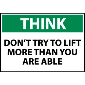 think osha 10x14 plastic - dont try to lift more Think Osha 10x14 Plastic - Dont Try To Lift More