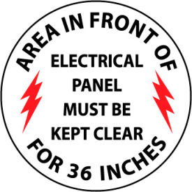 WFS27 Walk On Floor Sign - Area In Front Of Electrical Panel Must Be Kept Clear