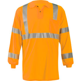occunomix lux-lspp3b-o4x birdseye polo, wicking & cooling long sleeve, class 3, orange, 4xl Occunomix LUX-LSPP3B-O4X Birdseye Polo, Wicking & Cooling Long Sleeve, Class 3, Orange, 4XL