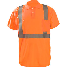 occunomix lux-sspp2b-o5x birdseye polo, wicking & cooling, short sleeve, class 2, orange, 5xl Occunomix LUX-SSPP2B-O5X Birdseye Polo, Wicking & Cooling, Short Sleeve, Class 2, Orange, 5XL