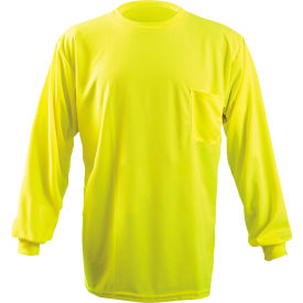occunomix long sleeve wicking birdseye t-shirt with pocket hi-vis yellow l, lux-xlspb-yl OccuNomix Long Sleeve Wicking Birdseye T-Shirt With Pocket Hi-Vis Yellow L, LUX-XLSPB-YL