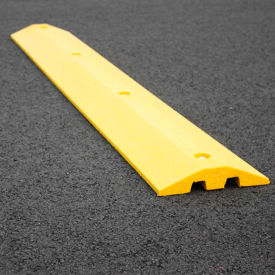 "yellow speed bump with cable protection & hardware - 72"" long"