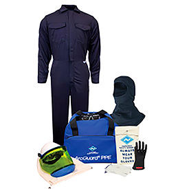 arcguard® kit2cv08bsm12 8 cal/cm2 arc flash kit w/ fr coverall w/ balaclava, sm, glove sz 12 ArcGuard® KIT2CV08BSM12 8 cal/cm2 Arc Flash Kit w/ FR Coverall w/ Balaclava, SM, Glove Sz 12