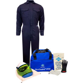 arcguard® kit2cv08lg10 8 cal/cm2 arc flash kit with fr coverall, lg, glove size 10 ArcGuard® KIT2CV08LG10 8 cal/cm2 Arc Flash Kit with FR Coverall, LG, Glove Size 10