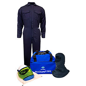 arcguard® kit2cv08ngblg 8 cal/cm2 arc flash kit with fr coverall and balaclava, lg, no gloves ArcGuard® KIT2CV08NGBLG 8 cal/cm2 Arc Flash Kit with FR Coverall and Balaclava, LG, No Gloves