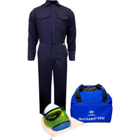 arcguard® kit2cv08ng, md 8 cal/cm2 arc flash kit with fr coverall, md, no gloves ArcGuard® KIT2CV08NG, MD 8 cal/cm2 Arc Flash Kit with FR Coverall, MD, No Gloves