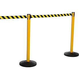 SM450Y-YB100 Yellow Post Safety Barrier, 11 Ft., Yellow/Black Belt