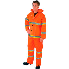 2013RL MCR Safety 2013RL Luminator; 3-Piece Rain Suit, Orange w/ Lime Silver Stripes, Large