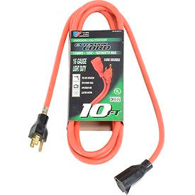 60010 U.S. Wire 60010 10 Ft. Three Conductor Extension Orange Cord, 16/3 Ga. SJTW-A, 300V, 13A