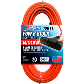 62100 U.S. Wire 62100 100 Ft. Three Conductor Orange Cord W/Pow-R Block, 14/3 Ga. SJTW-A, 300V, 13A