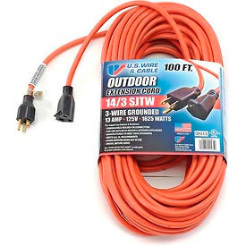 63100 U.S. Wire 63100 100 Ft. Three Conductor Orange Extension Cord, 14/3 Ga. SJTW-A, 300V, 13A