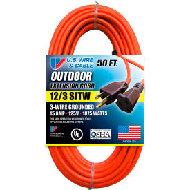 65050 U.S. Wire 65050 50 Ft. Three Conductor Orange Extension Cord, 12/3 Ga. SJTW-A, 15A