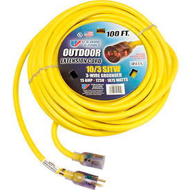 68100 U.S. Wire 68100 100 Ft. Single Tap Extension Cord w/ Lighted Ends, 10/3 Ga. SJWT-A, 300V, Yellow