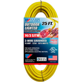 73025 U.S. Wire 73025 25 Ft. Three Conductor Yellow Temp-Flex Lighted Plug Cord, 14/3 Ga., 300V 15A