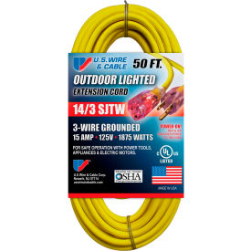 73050 U.S. Wire 73050 50 Ft. Three Conductor Yellow Temp-Flex Lighted Plug Cord, 14/3 Ga., 300V, 15A