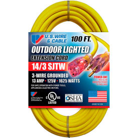 73100 U.S. Wire 73100 100 Ft. Three Conductor Yellow Temp-Flex Lighted Plug Cord, 14/3 Ga., 300V, 13A
