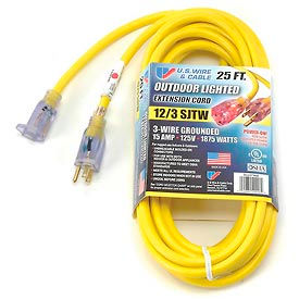 74025 U.S. Wire 74025 25 Ft. Power-On Illuminated Plug Temp-Flex-35 Cord, Yellow, 300V, SJTW-A 12/3