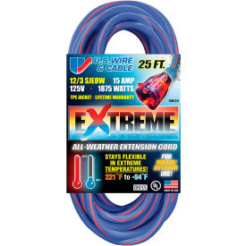 99025 U.S. Wire 99025 25 Ft. Three Conductor Artic/Tropic Cord, 12/3 Ga. SJEOW-A, 15A, Blue w/Red Stripe