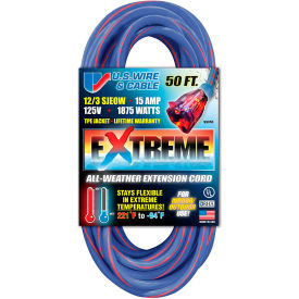99050 U.S. Wire 99050 50 Ft. Three Conductor Artic/Tropic Cord, 12/3 Ga. SJEOW-A, 15A, Blue w/Red Stripe