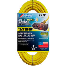 99025PB U.S. Wire 99025PB 25 Ft. Blue Artic/Tropic Cord W/Pow-R Block, 12/3 Ga. SJEOW-A, 300V, 15A