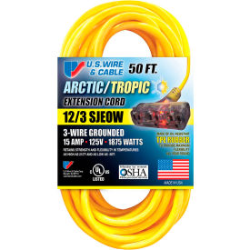 99050PB U.S. Wire 99050PB 50 Ft. Artic/Tropic Cord W/Pow-R Block, 12/3 Ga. SJEOW-A, 300V, 15A, Blue