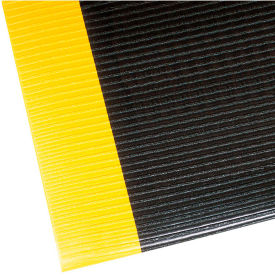 "406S0026BY NoTrax Razorback 1/2"" Thick Safety-Anti-Fatigue Floor Mat, 2 x 6 Black/Yellow"