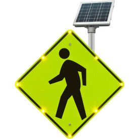 "2180-00232 blinkersign® flashing led pedestrian crossing sign w11-2, 36""w, solar 2180-00232 BlinkerSign® Flashing LED Pedestrian Crossing Sign W11-2, 36""W, Solar"