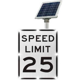 2180-00285-25 blinkersign® speed limit 25 sign r2-1, white/black, solar 2180-00285-25 BlinkerSign® Speed Limit 25 Sign R2-1, White/Black, Solar