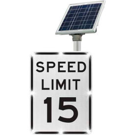 2180-c00103-15 blinkersign® speed limit 15 sign r2-1, white/black, solar 2180-C00103-15 BlinkerSign® Speed Limit 15 Sign R2-1, White/Black, Solar