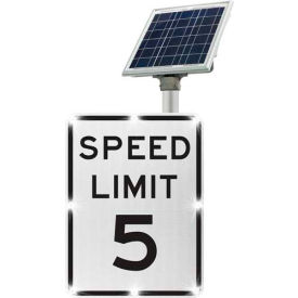 2180-c00103-5 blinkersign® speed limit 5 sign r2-1, white/black, solar 2180-C00103-5 BlinkerSign® Speed Limit 5 Sign R2-1, White/Black, Solar