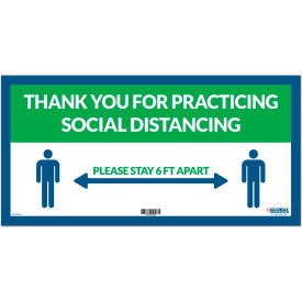"global industrial™ green thank you for social distancing sign,  24""w x 12""h, adhesive vinyl Global Industrial™ Green Thank you for Social Distancing Sign,  24""W x 12""H, Adhesive Vinyl"